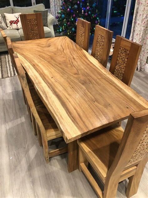 stunning and unique cork and multi wood dining table with