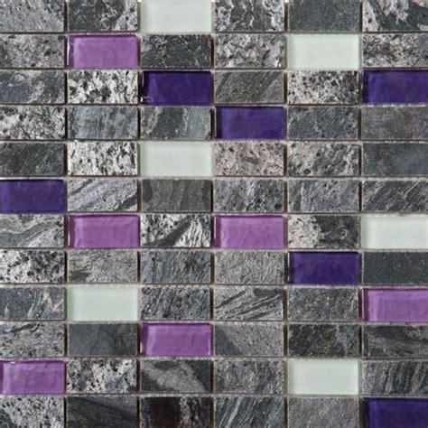 Bati Orient Glass Tile by Bati Orient Mix Mosaic 1 X 2 Grey Polished Quartzite
