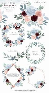 Word Templates For Wedding Invitations Watercolor Flowers Clipart Dusty Blue Burgundy Fall