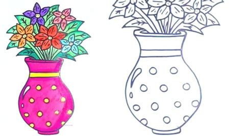draw flowers   vase drawing  kids
