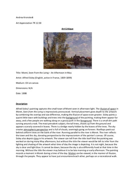 What steps need to be taken to write. Art Criticism student example (2)