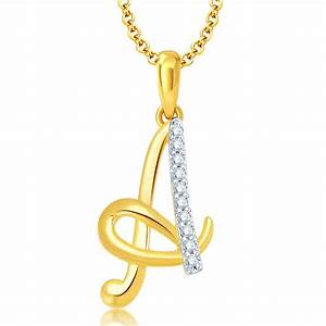 buy online pissara letterquot aquot gold and rhodium plated cz With letter pendant online