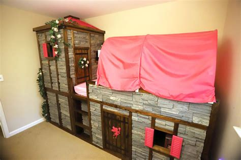 dad creates castle bed   daughter  ikea kura beds
