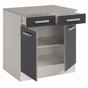 Meuble Cuisine Blanc : meuble bas de cuisine contemporain 80 cm 2 portes 2 ~ Edinachiropracticcenter.com Idées de Décoration