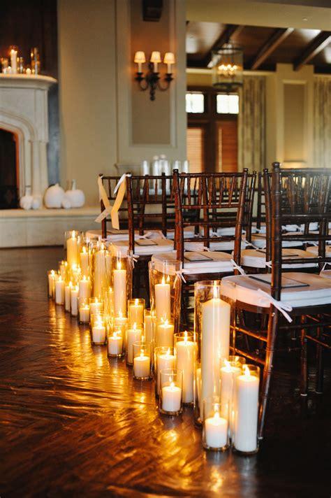 pillar candles  wedding aisle elizabeth anne