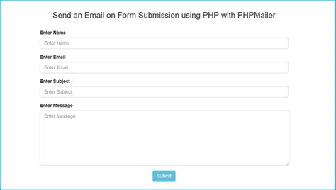 send an email on form using php with phpmailer