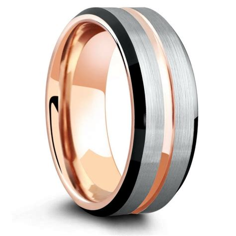 wedding rings men 8mm three tone brushed tungsten wedding ring with beveled 1049