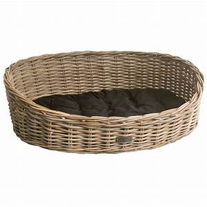 oval grey wicker dog basket in 3 sizes With cheap dog baskets