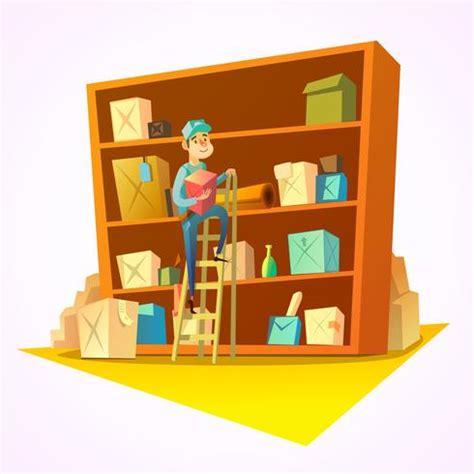 warehouse retro cartoon   vector art stock