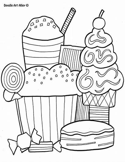 Coloring Doodle Pages Alley Desserts Printables
