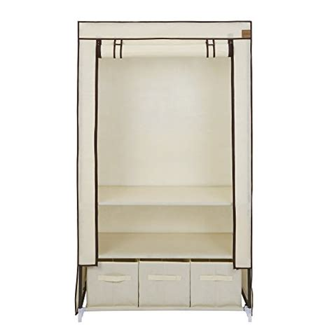Cupboard Hanging Rail by Vonhaus Canvas Effect Wardrobe Clothes Cupboard Hanging