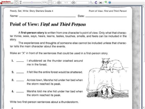 point of view and third person worksheet lesson