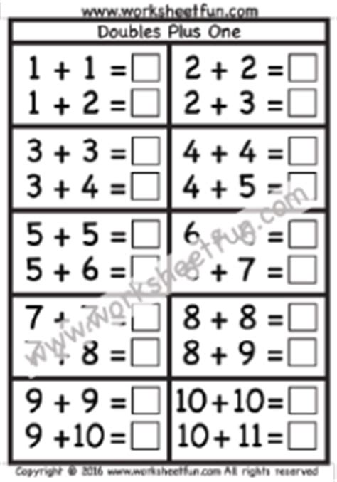 addition doubles plus one free printable worksheets