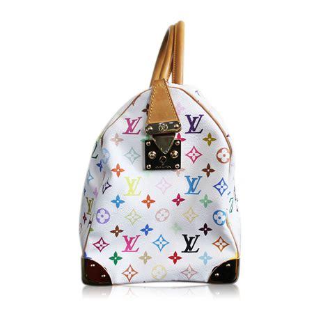 authentic louis vuitton white multi colored murakami keepall  duffel bag
