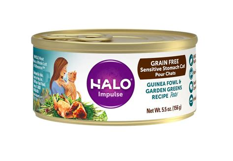 Halo Impulse Guinea Fowl & Garden Greens Recipe Grain-free Sensitive Stomach Canned Cat Food, 5