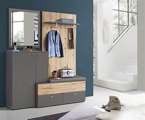 Garderobe Mit Sitzbank : garderobe kompakt como von forte wolfram grau planked eiche ~ Frokenaadalensverden.com Haus und Dekorationen