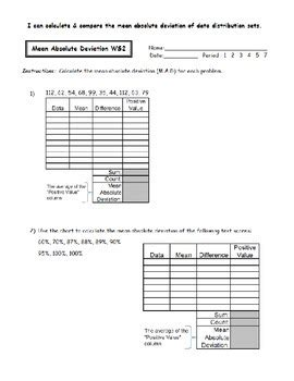 absolute deviation worksheets  noelle anderson tpt