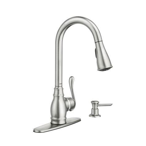 kitchen faucets lowes shop moen anabelle spot resist stainless 1 handle pull