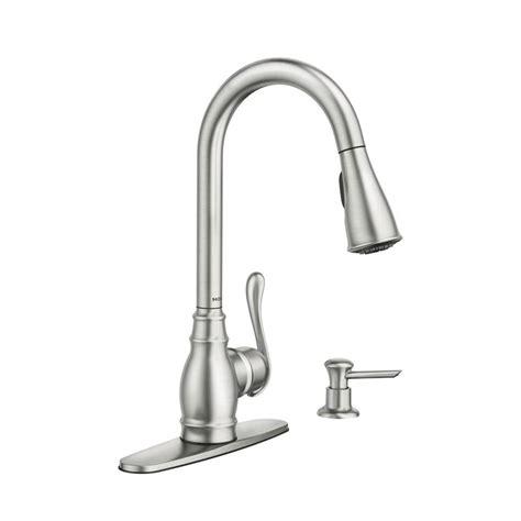 moen kitchen faucets shop moen anabelle spot resist stainless 1 handle pull