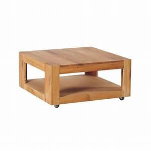 Table Basse Chne Double Plateau Roulettes 80cm ROMEO