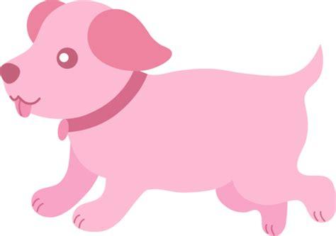 cute pink puppy running  clip art