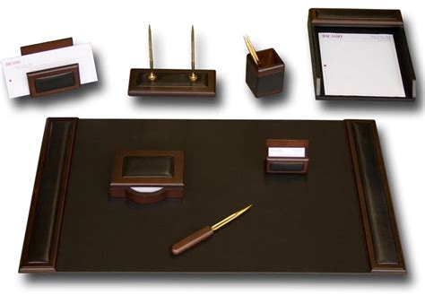 office and desk supplies d8412 walnut leather 8 piece desk set