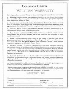 Warranty disclaimer sample template disclaimkit autos post for Written guarantee template