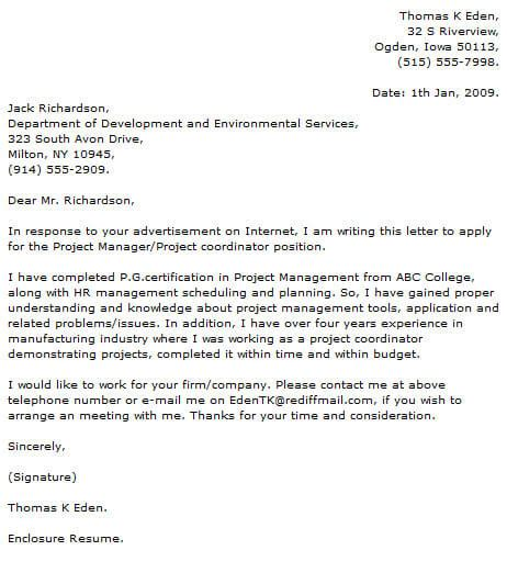 Cover Letter For Project Manager Application by Project Manager Cover Letter Exles Cover Letter Now