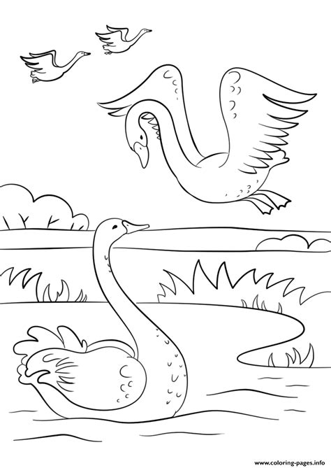 autumn scene  swans fall coloring pages printable