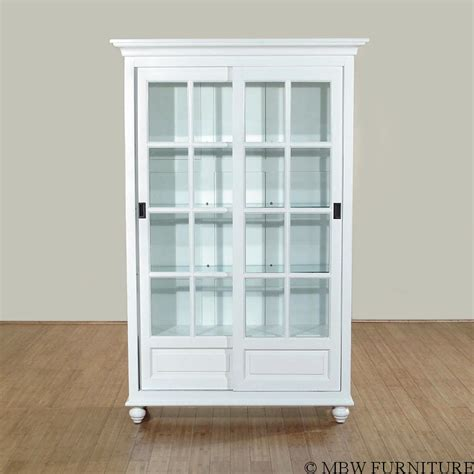 white curio cabinet furniture solid wood white finish sliding glass curio hutch china