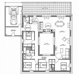 plan maison plain pied avec patio interieur 1 house With plan maison avec patio