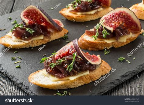 canapé apéritif canape crostini toasted baguette cheese stock photo
