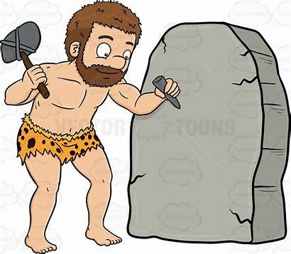 Caveman Rock Clipart Stone Carving Solid Cheerfully