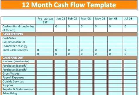simple cash flow template   project