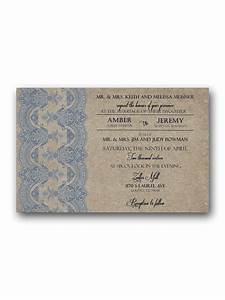 Dusty blue and tan wedding invitation rsvp for Wedding invitations 50 cents each