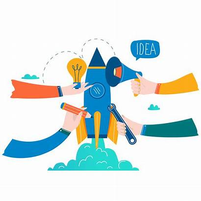 Vector Launch Business Startup Illustration Project Flat