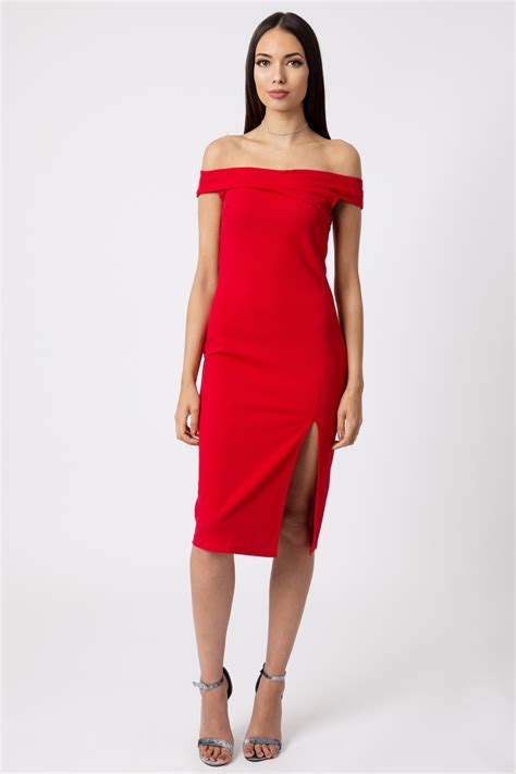 Red Off Shoulder Thigh Split Bodycon Dress   Dresses   Modamore