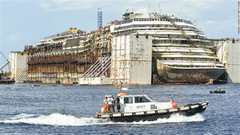 costa concordia righted after massive salvage effort off