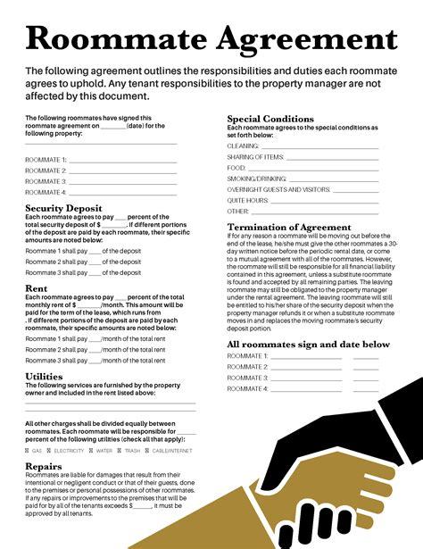 roommate agreement collegiateparent