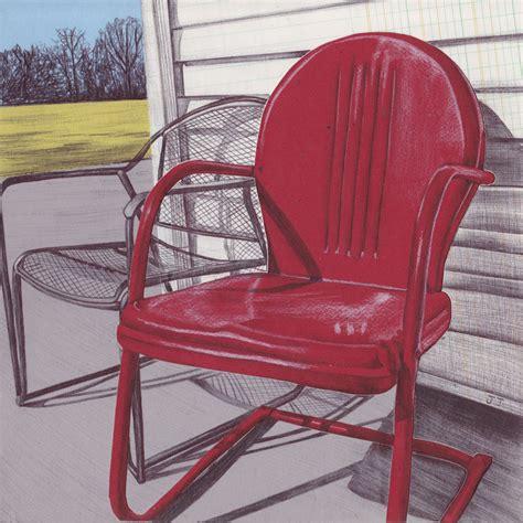 print vintage metal lawn chair wall metal lawn