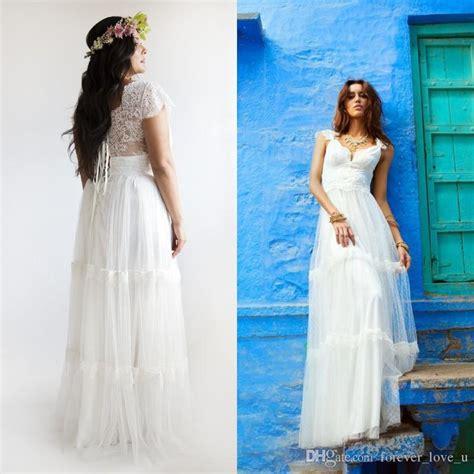 2015 bohemian wedding dresses plus size a line bridal