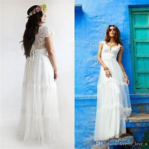 2015 bohemian wedding dresses plus size a line bridal With plus size bohemian wedding dresses