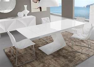 Table manger extensible blanc laqu design arta for Table de salle a manger design avec rallonge