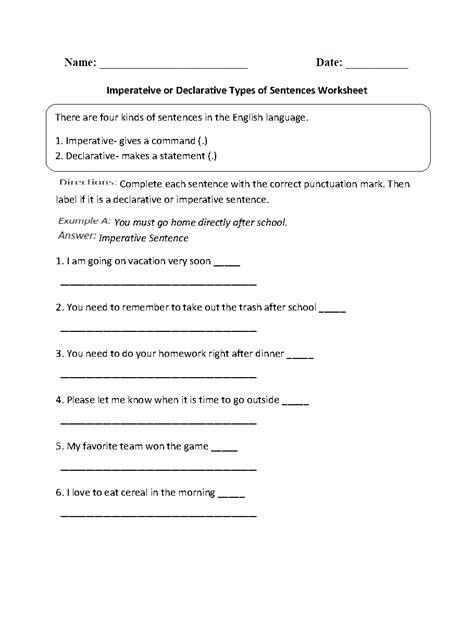 worksheet  kinds  sentences