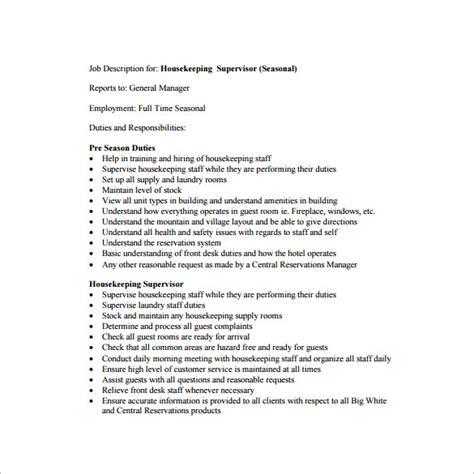 supervisor description template 10 free word excel