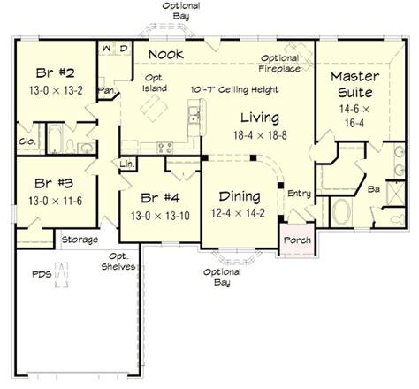 bedroom brick ranch home plan hr st floor