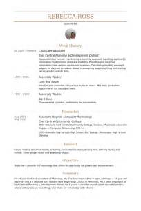 resume child care assistant child care resume sles visualcv resume sles database
