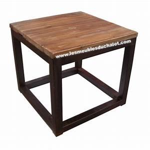 Table Bois Et Fer : table basse loft cross bois et fer carre casita les meubles du chalet ~ Teatrodelosmanantiales.com Idées de Décoration