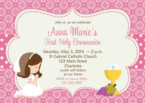 First Communion Invitation Holy Communion Invitation Holy