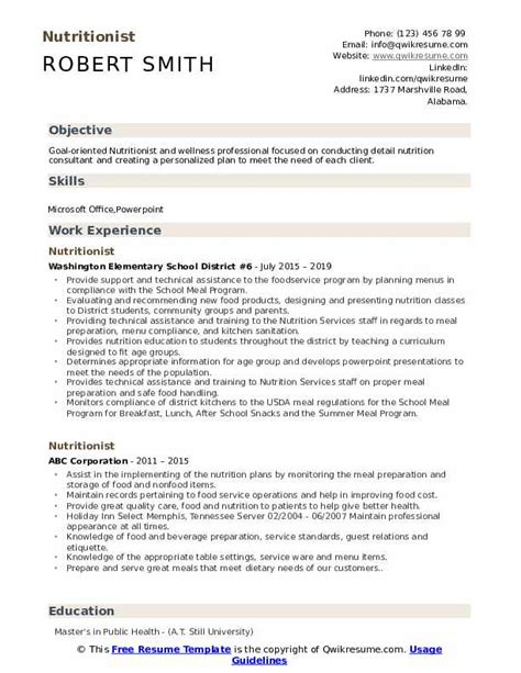 nutritionist resume samples qwikresume